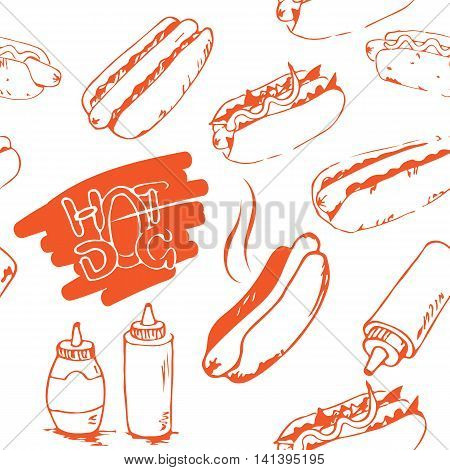 Hotdog seamless pattern hand drawn. Fast food design element. Seamless texture from sketches of hotdogs with sauce mayonnaise and vegetables. EPS8 vector illustration with pattern swatch included.