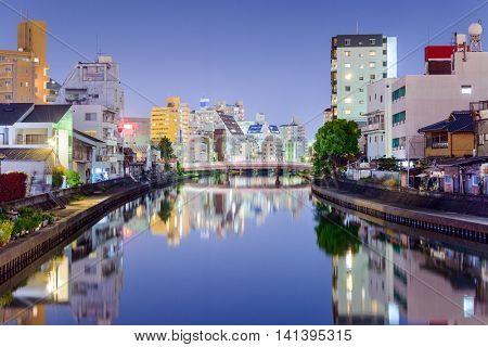 Wakayama, Japan downtown city skyline at night.