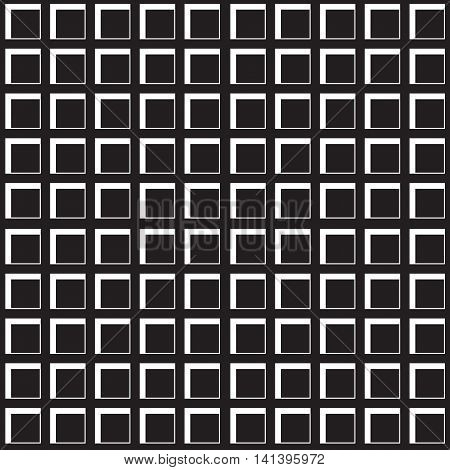 Square cells seamless pattern. Continuous background of 3d cell structure. Repeating geometric texture with pseudo threedimensional squares. Vector illustration.