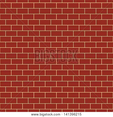 Red brick wall seamless pattern. Repeating texture of brickwork. Continuous bricks background. Simple vector illustration with bricklaying.