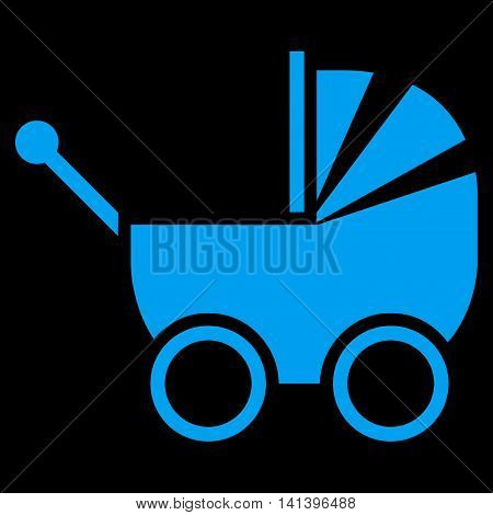 Baby Carriage vector icon. Style is flat symbol, blue color, rounded angles, black background.