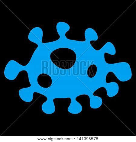 Bacteria vector icon. Style is flat symbol, blue color, rounded angles, black background.