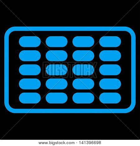 Blister vector icon. Style is flat symbol, blue color, rounded angles, black background.