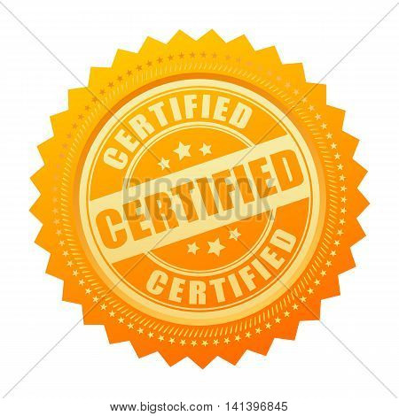 Certified gold certificate icon isolated on white background