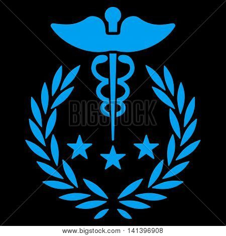 Caduceus Logo vector icon. Style is flat symbol, blue color, rounded angles, black background.