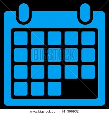 Calendar Appointment vector icon. Style is flat symbol, blue color, rounded angles, black background.