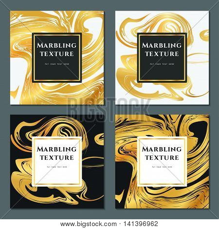Vector Illustration of Marbling Texture  for Design, Website, Background, Banner. Ink Liquid Element Template. Watercolor Pattern. Gold, white and Black Greeting Card