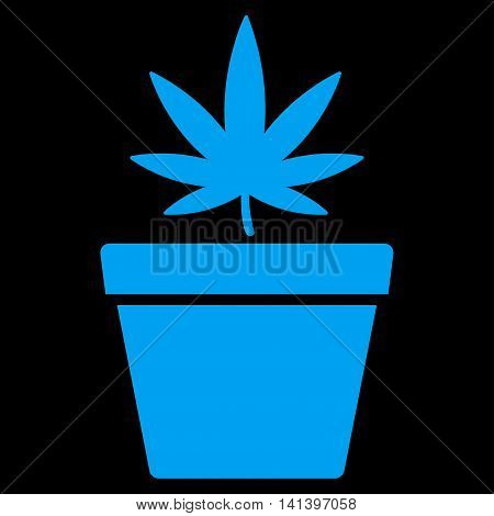 Cannabis Pot vector icon. Style is flat symbol, blue color, rounded angles, black background.