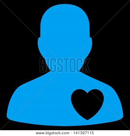Cardiology Patient vector icon. Style is flat symbol, blue color, rounded angles, black background.