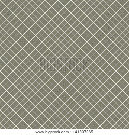 Intersecting perpendicular lined seamless pattern. Repeating mesh texture with white crossing lines on brown tint background. Grid checkered vector illustration.