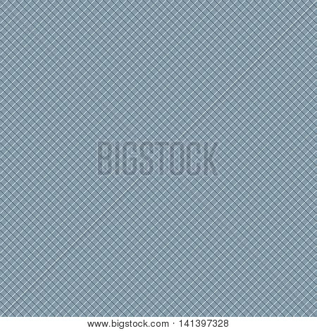 Intersecting perpendicular lined seamless pattern. Repeating mesh texture with white crossing lines on blue tint background. Grid checkered vector illustration.