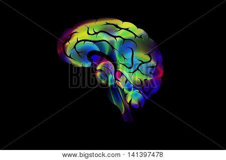illustration of the brain. color creative icon.