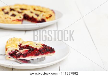 Homemade Berry Pie And Cut A Piece