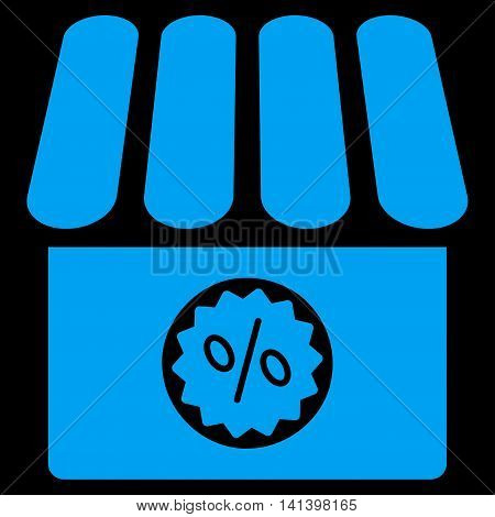 Drugstore Sale vector icon. Style is flat symbol, blue color, rounded angles, black background.