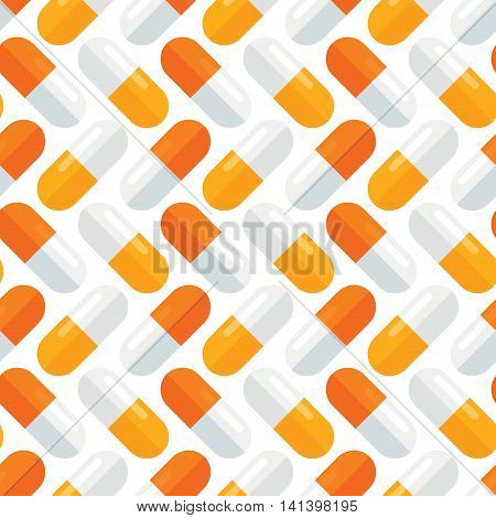 Pharmacology seamless pattern. Medical pills continuous wrapping background. Stylized medication tablets texture. Health care vector illustration in EPS8 format.