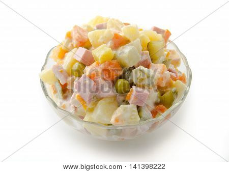 Russian traditional salad olivie isolated on white bacground with clipping path.