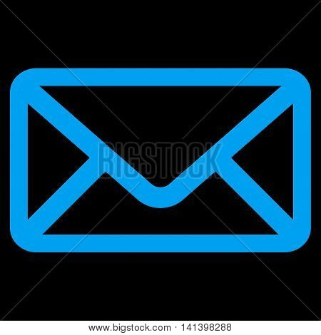 Envelope vector icon. Style is flat symbol, blue color, rounded angles, black background.