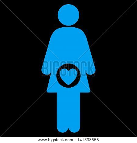 Fertility vector icon. Style is flat symbol, blue color, rounded angles, black background.