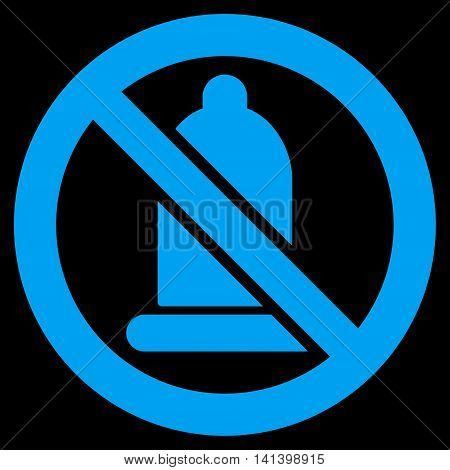 Forbidden Condom vector icon. Style is flat symbol, blue color, rounded angles, black background.