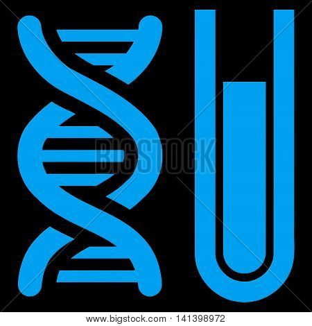 Genetic Analysis vector icon. Style is flat symbol, blue color, rounded angles, black background.