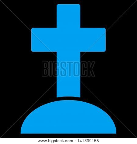 Grave vector icon. Style is flat symbol, blue color, rounded angles, black background.