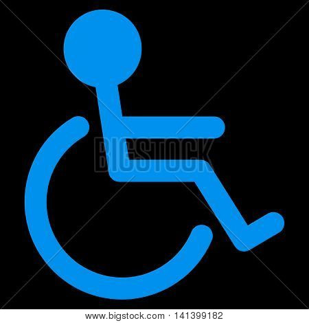 Handicapped vector icon. Style is flat symbol, blue color, rounded angles, black background.
