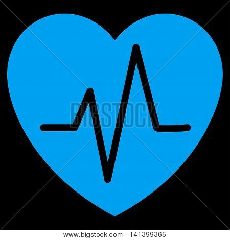 Heart Ekg vector icon. Style is flat symbol, blue color, rounded angles, black background.