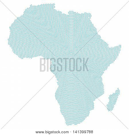 Africa map radial dot pattern. Blue dots going from the center outwards and form the silhouette of the african continent area. Illustration on white background.