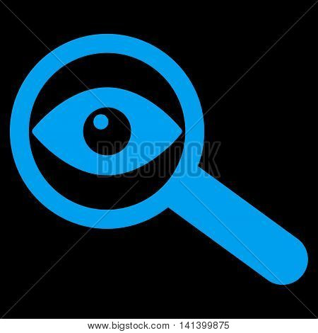 Investigate vector icon. Style is flat symbol, blue color, rounded angles, black background.