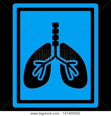 Lungs X-Ray Photo vector icon. Style is flat symbol, blue color, rounded angles, black background.
