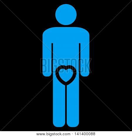 Male Love vector icon. Style is flat symbol, blue color, rounded angles, black background.