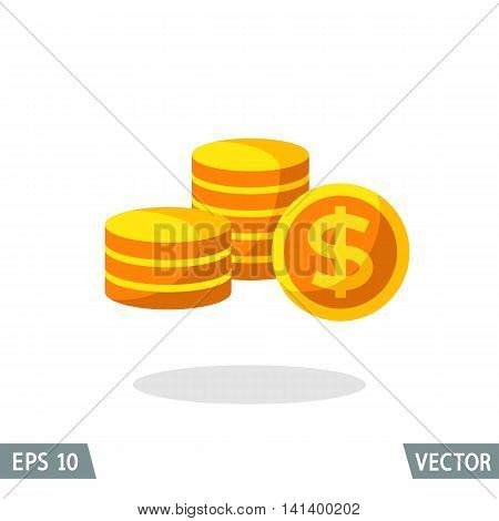 Money flat icon gold dollar symbol stack of coins. Vector illustration for web and commercial use.