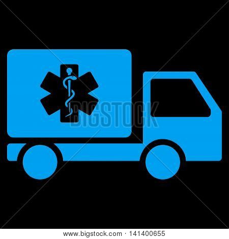 Medical Shipment vector icon. Style is flat symbol, blue color, rounded angles, black background.