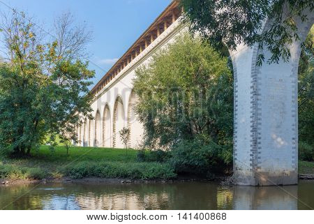 Rostokino Aqueduct across Yauza river in Moscow