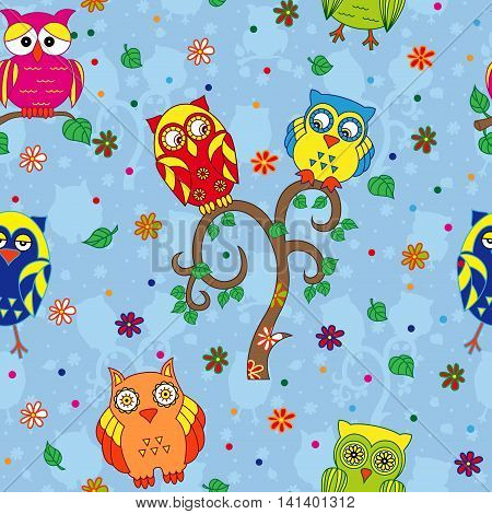 Colourful owls and tree on the blue background with stylized simple owls seamless cartoon vector pattern
