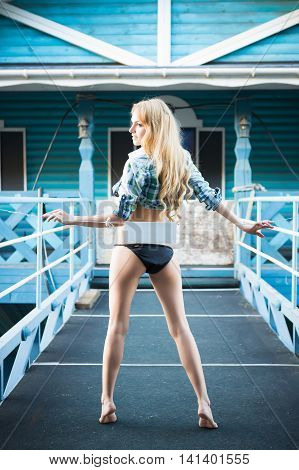 Young Leggy Blond Woman