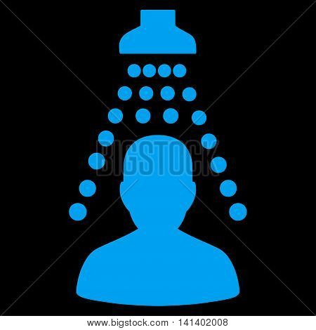 Patient Disinfection vector icon. Style is flat symbol, blue color, rounded angles, black background.