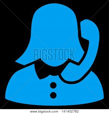 Receptionist vector icon. Style is flat symbol, blue color, rounded angles, black background.