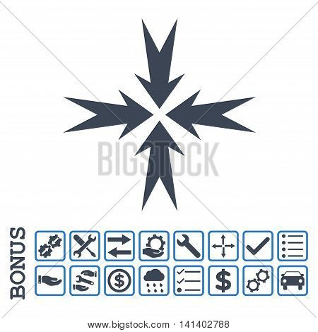 Compression Arrows icon with bonus pictograms. Vector style is flat iconic symbol, smooth blue colors, white background. Bonus style is bicolor square rounded frames with symbols inside.