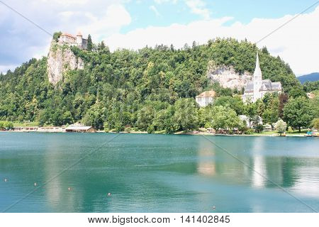 Bled with lake and hills in background Slovenia - Europe.