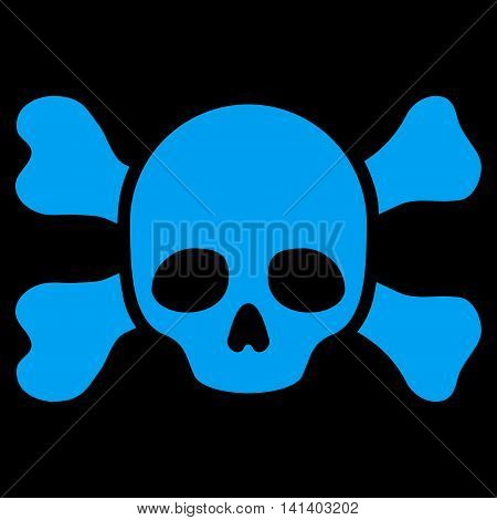 Skull And Bones vector icon. Style is flat symbol, blue color, rounded angles, black background.