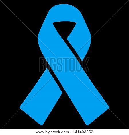 Solidarity Ribbon vector icon. Style is flat symbol, blue color, rounded angles, black background.