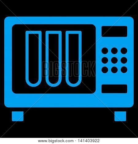 Sterilizer vector icon. Style is flat symbol, blue color, rounded angles, black background.