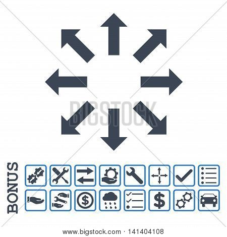 Explode Arrows icon with bonus pictograms. Vector style is flat iconic symbol, smooth blue colors, white background. Bonus style is bicolor square rounded frames with symbols inside.