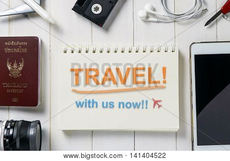 Travel with us now! Travel agency poster slogan in colorful color.