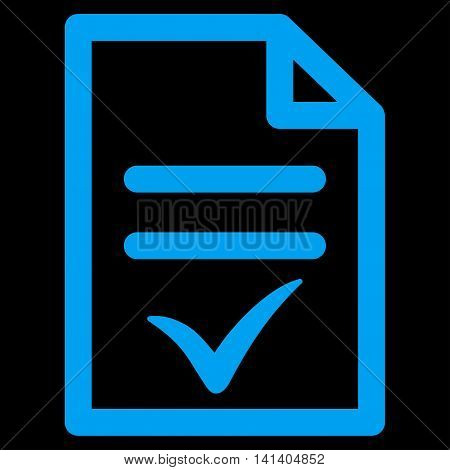 Valid Document vector icon. Style is flat symbol, blue color, rounded angles, black background.