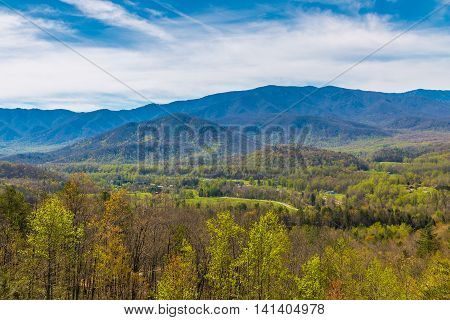 Great Smoky Mountains National Park Scenic Sunrise Landscape at overlook near Gatlinburg TN USA