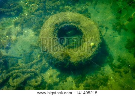 old track tyre dropped in the sea