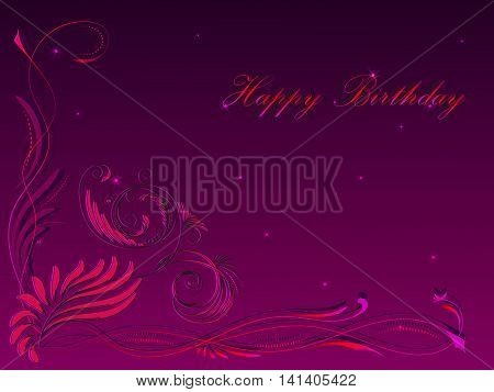 Card with a congratulation happy birthday with a floral ornament in the lower left corner in pink tones