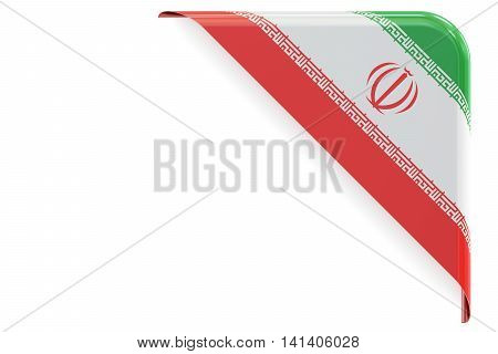 Iranian flag corner button label. 3D rendering isolated on white background